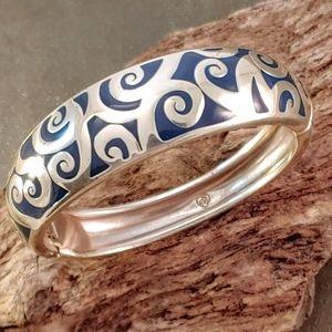 Brighton Silver Enamel Swirl Spring Hinge Bracelet